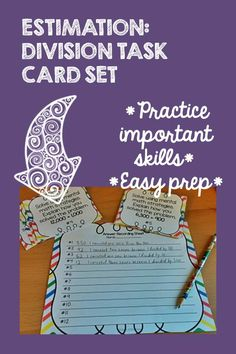 Estimation and mental math are important skills when building a solid foundation for division.  This set of 24 task cards will help your students practice this important skill.  This product is also available in a money-saving bundle!