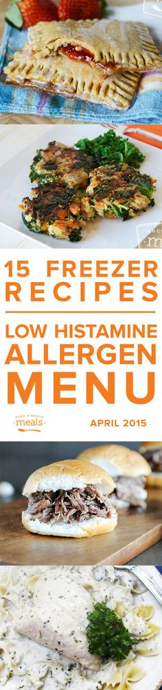 Low Histamine April Menu 2015 | Once a Month Meals | OAMC | Freezer Meals | Freezer Cooking | Custom Menus | Menu Planning