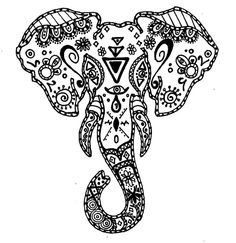 abstract elephant coloring pages