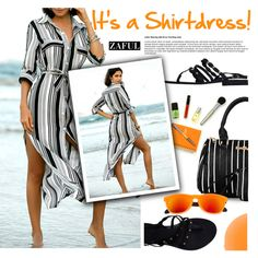 It's a Shirt! It's a Dress! It's a Shirtdress! by ansev on Polyvore featuring polyvore, fashion, style, Aperlaï, Zelens, clothing, stripedshirt and zaful