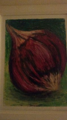 Red onion. Oil pastels