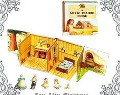 Little House POP UP Book – Diy Printable Laura Ingalls Wilder Little House on the Prairie Pop-u - Products wedding wedding flowes Dollhouse Miniature Tutorials, Miniature Dolls, Dollhouse Miniatures, Miniature Houses, Paper Doll House, Paper Dolls, Laura Ingalls Wilder, Thing 1, Vintage Dollhouse