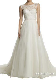 Women V Back Lace Cap Sleeve Wedding Dresses http://www.ikmdresses.com/Women-V-Back-Lace-Cap-Sleeve-Wedding-Dresses-p89007