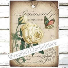 Label French Rose Butterflies Papillon Large by GraphicMarketplace