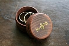 Wedding ring box, ring bearer accessory, ring warming. Tiny pine ring box with Mr & Mr design in gold.  Gay same sex wedding.