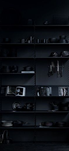 Monochromatic Black on Black Bookshelf Perfectly Styled Black And White Aesthetic, Black Love, Black Bookshelf, Ps Wallpaper, Black Photography, Black Aesthetic Wallpaper, Monochrom, Design Studio, Grafik Design