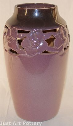 University of North Dakota Reticulated Floral Lamp Vase (Nyguist) from Just Art Pottery