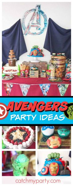 at Catch My Party Avengers Birthday, Superhero Birthday Party, Boy Birthday Parties, Birthday Cake, Fourth Birthday, Birthday Ideas, Party Themes For Boys, Theme Parties, Luau Party