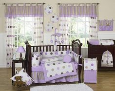 Purple and Chocolate Mod Dots 9 pc Crib Bedding set has all that your little bundle of joy will need. Let the little one in your home settle down to sleep in this incredible nursery set. This modern baby girl crib bedding set combines ultra contempor Purple Crib Bedding, Girl Crib Bedding Sets, Girl Cribs, Crib Sets, Baby Cribs, Comforter Sets, Orange Bedding, Lavender Bedding, Designer Baby