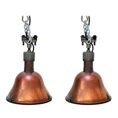 Pair of Large Industrial Copper Pendant Lights | From a unique collection of antique and modern flush mount at http://www.1stdibs.com/furniture/lighting/flush-mount-ceiling-lights/