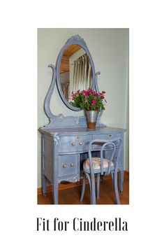 This adorable, dainty vanity with mirror and chair ensemble has been painted with Annie Sloan paint in Old Violet with clear and white wax. Accents on the upper left side and inside the drawer were painted in AS Pure White. It made a nice ensemble for a young gal with a smaller bedroom. If you have a piece you would like painted or you are interested in looking at what I have in stock, leave me a message on my website. Thank you for looking.