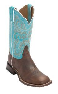 Tony Lama® Women's Worn Brown with Turquoise Top Square Toe Western Boot | Cavender's
