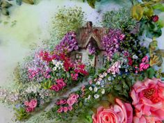 Symphony of Unforgettable Love, cottage garden, silk ribbon embroidery, roses, ribbonart work