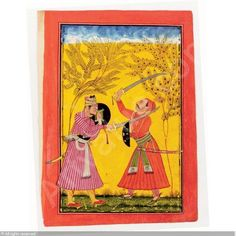 SARAMANANDA, SON OF RAGA HINDOL. Gouache heightened with gold on paper, India, Bilaspur (ca. 1700-1720) or Chamba (ca. 1690), two warriors practicing sword fighting http://www.sothebys.com/en/auctions/ecatalogue/2006/the-indian-sale-l06221/lot.89.html