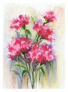 Claveles / Carnations. Watercolor by Isabel Maria Sanchez Gomez.