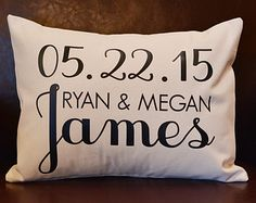 Custom Wedding Date Pillow, Personalized Wedding Pillow, Personalized Gift