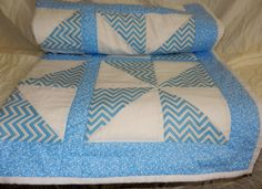 Modern Baby Quilt, Lap Quilt or Throw - Blue and White Pinwheel Pattern- Approx: 39 x 50