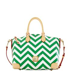 "Dooney & Bourke, Chevron Satchel FC668, $218.00, Sale Sept 2014 Only: $163,50  -  (9) Colors; L11.25"", W7"", H9.75"";  One Inside zip pocket, Three inside pockets, Cell phone pocket, Inside key hook, Adjustable strap, Handle drop length: 4"", Strap drop length: 13"", Lined, Zipper closure, Feet, Coated cotton fabric   (09.04.14)"