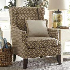 Alec Navy Blue Trellis Wing Chair Living Room