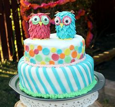 Birthday Party: Owl cake, fondant (Unicorn Cake For Teens)