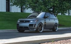 Download wallpapers Land Rover, 2017, Range Rover Vogue, autoart tuning, gray matt SUV, luxury cars