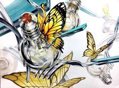 전구 나비 포크 2d Design, Vintage Art, Art Drawings, Collage, Animals, Image, Collages, Animales, Animaux