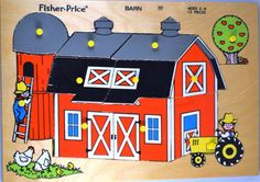 Vintage 1979 Fisher Price Wooden 13 Piece Puzzle by FarahsAttic, $10.00