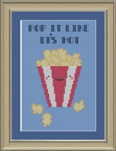 Pop it like its hot: cute popcorn cross-stitch pattern. $3.00, via Etsy.