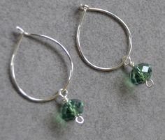 925 Sterling silver+green faceted beads hoops from Lisa Astrup Art & craft by DaWanda.com