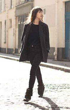 Jeanne Damas, gray jeans, tucked in sweater, coat, Isabel Marant boots