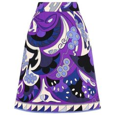 Preowned Emilio Pucci 1960s Purple Mediterranean Motif Signature Print... ($694) ❤ liked on Polyvore featuring skirts, purple, vintage print skirt, a line patterned skirt, a line skirt, embellished skirt and zipper skirt