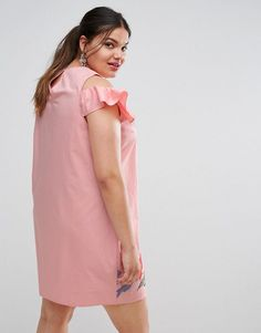 ASOS CURVE Shift Dress with Frill Sleeve & Embroidery - Pink