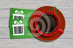 Christmas discount coupons with barcode and cup of coffee lying on wooden desk. barcode is designed by author.