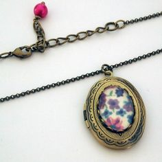 Locket Necklace Floral Brass Cameo  Shabby Chic by glamasaurus, $21.00