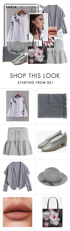 """""""Shein.Embroidery Flower Shirred Blouse"""" by natalyapril1976 ❤ liked on Polyvore featuring Acne Studios, Tiffany & Co., Object Collectors Item, Gray Matters, Accessorize, Zoya and Ted Baker"""