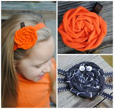 Pumpkin Rolled Fabric Rosette Tutorial.