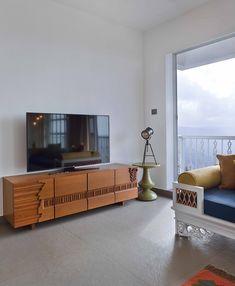 Panchgani Villa | HS Desiigns - The Architects Diary Tv Cabinet Design Modern, Villa Design, House Design, Living Room Designs, Living Spaces, Lcd Units, Interior Walls, Interior Design, Tv Wall Decor