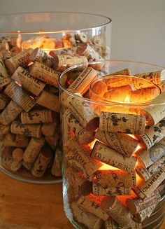 What a warm cozy glow. Wine corks and tea lights.