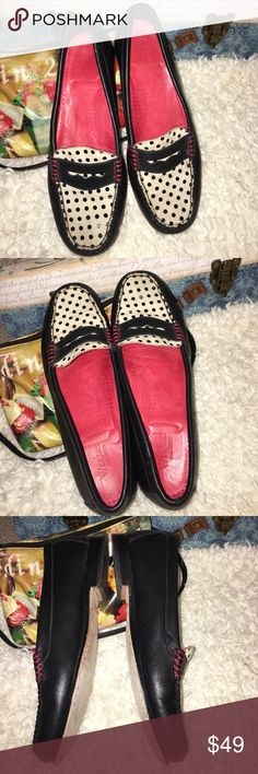 Polk a dots leather flats 8.5 Does it get any cuter than this? Worn once , super comfortable. Love these leather poke a dot loafers from G.H Bass.the quality and color scheme make them not only fun but very professional. G.H. Bass Shoes Flats & Loafers