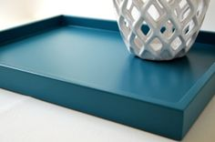 Teal Blue 14 x 18 Shallow Wood Decorative Tray, Coffee Table Tray, Teal Home Decor, Ottoman Tray on Etsy, $20.00