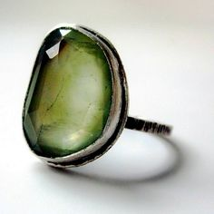 Rose Cut Green Prehnite Ring in Silver by sarawestermark on Etsy, Jewelry Box, Jewelry Rings, Jewelry Accessories, Jewelry Design, Jewlery, Etsy Jewelry, Gold Jewelry, Jewel Case, Gemstone Rings
