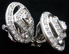 Signed Carol Lee Clear Rhinestone Clip Silver Tone Estate Earrings Vintage | eBay