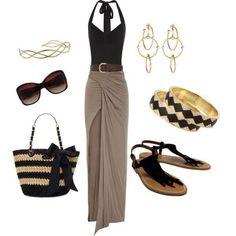 black halter top with beige maxi skirt