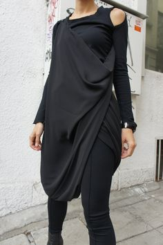 "Black Top , Black Extra Long Leggings , Black Shawl ""All Black - Bold..."