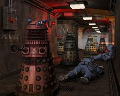 #art #doctor-who #daleks Doctor Who Dalek, Doctor Who Fan Art, Tenth Doctor, Sci Fi Series, Tv Series, Doctor Who Wallpaper, Sci Fi Comics, Book Cover Art, British Actors