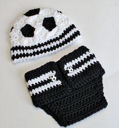 Ravelry: Newborn Soccer Hat and Diaper Cover Prop Pattern pattern by Kara Gunza