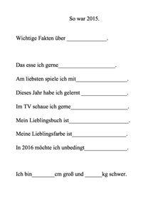 Fragebogen für Kinder zu Silvester Printable