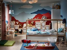 Take a look at how a kid's room, created by IKEA interior designer Sara Zetterström, goes from idea to an all-inclusive home for a young kid. Come see how ideas and function turn into a kid's room that is full of life and ready for play. Interior Ikea, Bed Positions, High Beds, Bed Tent, Ikea Home, Bed Slats, Childrens Beds, Cozy Nook, Bed Base
