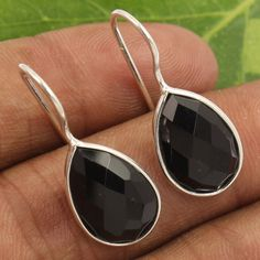 Lovely Earrings Natural BLACK ONYX Checker Gemstones 925 Sterling Silver Jewelry #Unbranded
