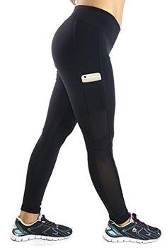 Kathyana Womens Side Pocket Workout Fitness Yoga Leggings Medium Black ** Visit the image link more details. (Note:Amazon affiliate link)